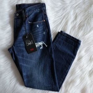 Levi's 501 Dark Wash Ripped Taper Jeans Sz 27